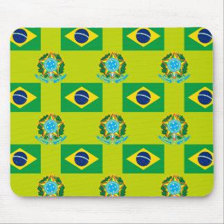 Bandera y escudo del Brasil Alfombrillas De Raton