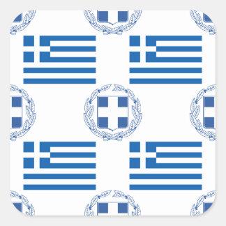 Bandera y escudo griegos pegatina cuadrada