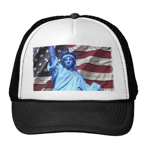 Bandera y estatua del diseño de la libertad gorras de camionero