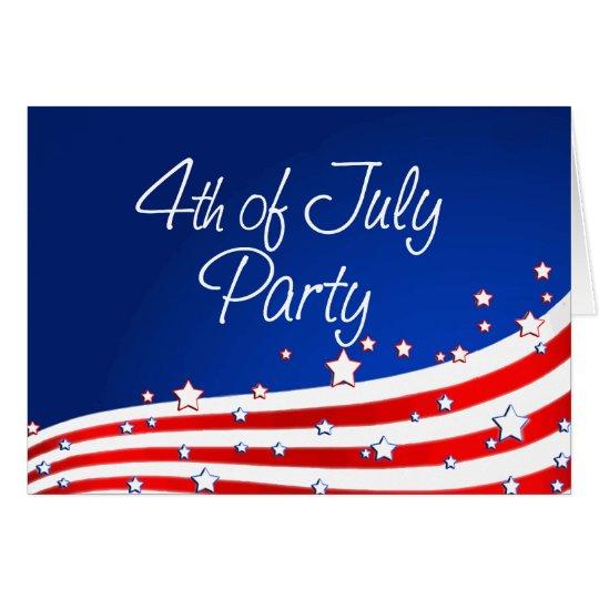 Bandera y fondo 4ta del fiesta de julio tarjeta de felicitación