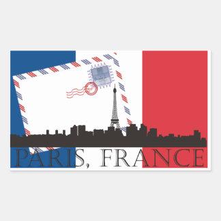 Bandera y horizonte de París Pegatina Rectangular