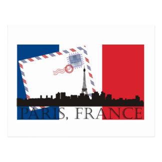 Bandera y horizonte de París Postales