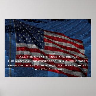 Bandera y lápidas mortuorias - cita de Churchill Póster