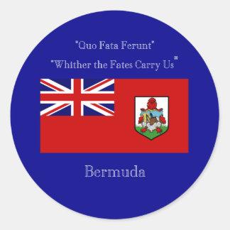 Bandera y lema de Bermudas Pegatina Redonda