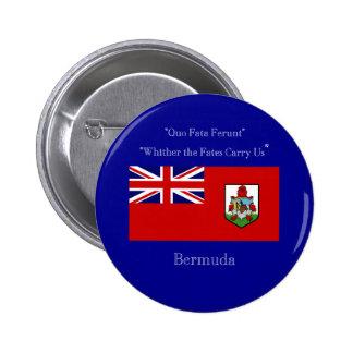 Bandera y lema de Bermudas Pin Redondo De 2 Pulgadas