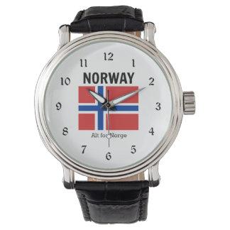 Bandera y lema de Noruega Relojes De Pulsera