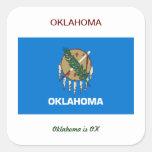 Bandera y lema de Oklahoma Calcomanía Cuadrada Personalizada