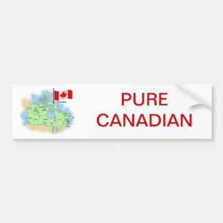 Bandera y mapa canadienses etiqueta de parachoque