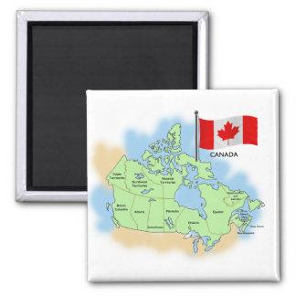 Bandera y mapa canadienses imán cuadrado