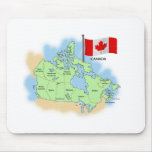 Bandera y mapa canadienses tapete de raton