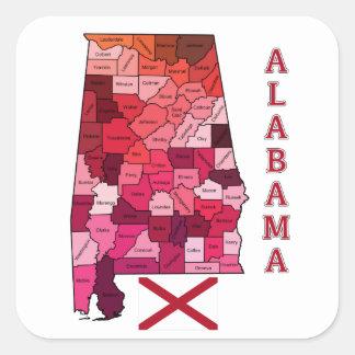 Bandera y mapa de Alabama Pegatina Cuadrada