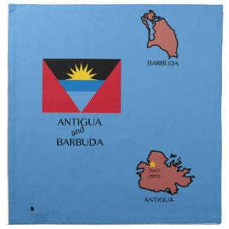 Bandera y mapa de Antigua y de Barbuda Servilleta