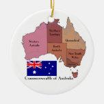 Bandera y mapa de Australia Adornos De Navidad