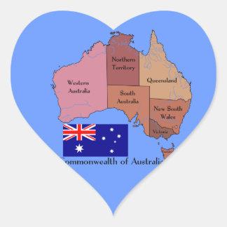 Bandera y mapa de Australia Pegatina De Corazon