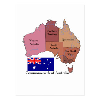 Bandera y mapa de Australia Tarjeta Postal