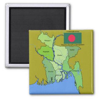 Bandera y mapa de Bangladesh Imán