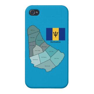 Bandera y mapa de Barbados iPhone 4/4S Fundas