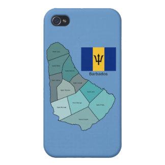 Bandera y mapa de Barbados iPhone 4 Carcasa