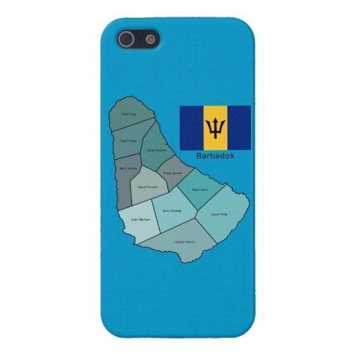 Bandera y mapa de Barbados iPhone 5 Protectores