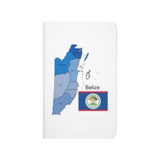 Bandera y mapa de Belice Cuaderno Grapado