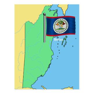 Bandera y mapa de Belice Tarjeta Postal