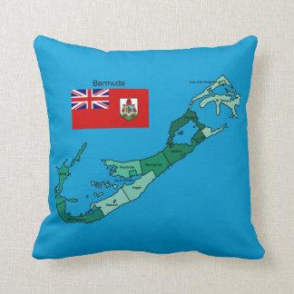 Bandera y mapa de Bermudas Cojin