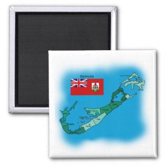 Bandera y mapa de Bermudas Imán Cuadrado