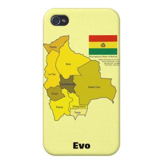 Bandera y mapa de Bolivia iPhone 4/4S Fundas