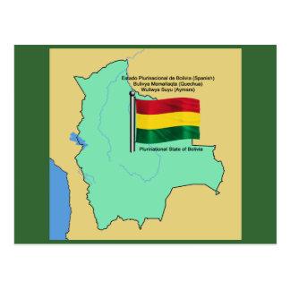Bandera y mapa de Bolivia Postal