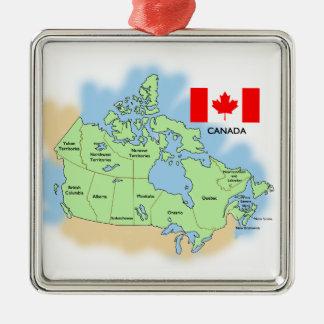 Bandera y mapa de Canadá Adorno Cuadrado Plateado
