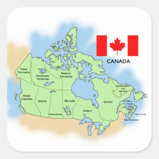 Bandera y mapa de Canadá Pegatina Cuadrada