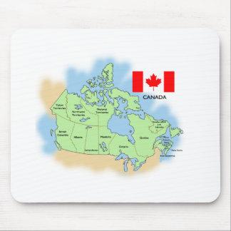 Bandera y mapa de Canadá Alfombrillas De Raton