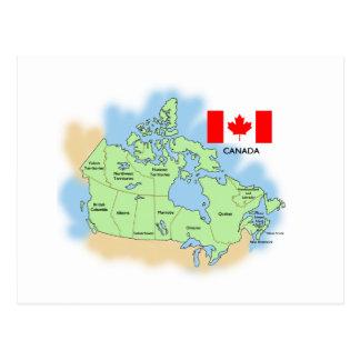 Bandera y mapa de Canadá Tarjetas Postales