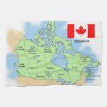 Bandera y mapa de Canadá Toalla