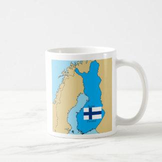 Bandera y mapa de Finlandia Taza Clásica