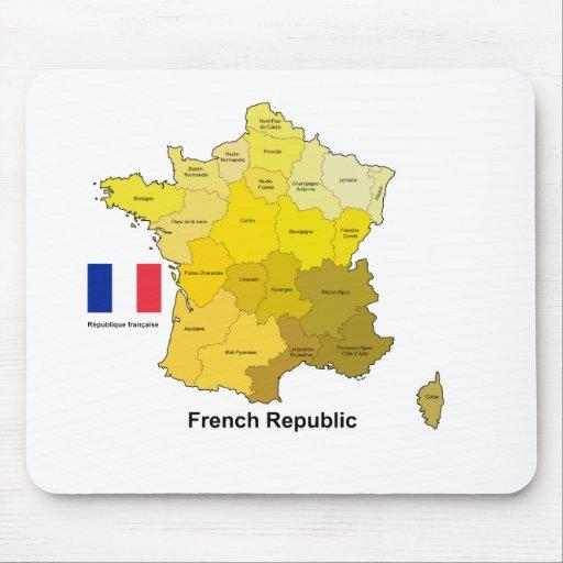 Bandera y mapa de Francia Alfombrillas De Ratones