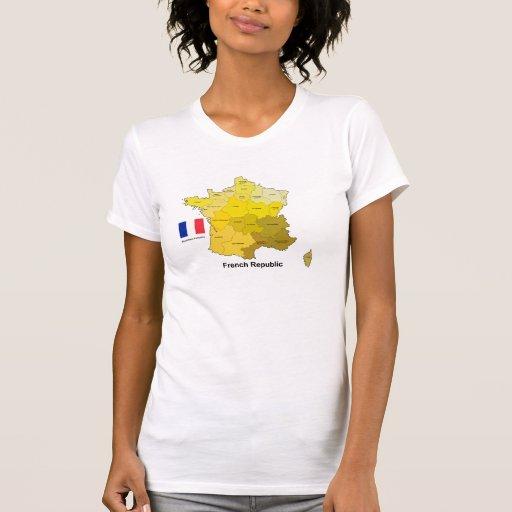 Bandera y mapa de Francia Camiseta