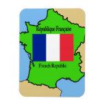Bandera y mapa de Francia Imanes De Vinilo