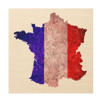 Bandera y mapa de Francia Cuadros De Madera
