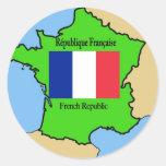 Bandera y mapa de Francia Pegatinas Redondas