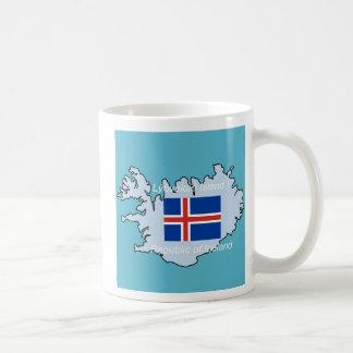 Bandera y mapa de Islandia Taza Clásica