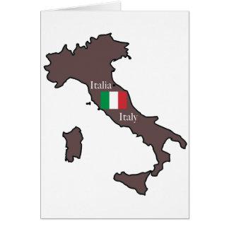 Bandera y mapa de Italia Tarjeta De Felicitación