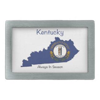 Bandera y mapa de Kentucky Hebilla Cinturón Rectangular