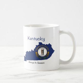 Bandera y mapa de Kentucky Taza Básica Blanca