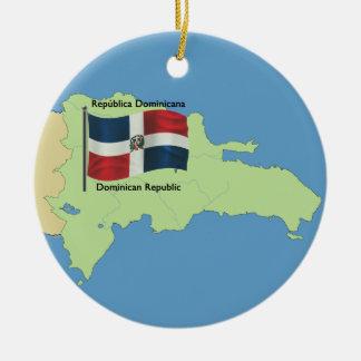 Bandera y mapa de la República Dominicana Adorno