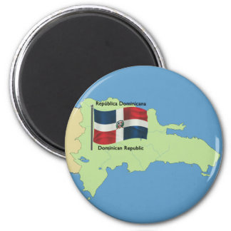 Bandera y mapa de la República Dominicana Imán Redondo 5 Cm