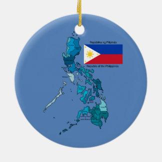 Bandera y mapa de las Filipinas Ornamentos De Reyes Magos