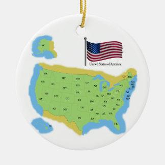 Bandera y mapa de los E.E.U.U. Ornamentos De Navidad