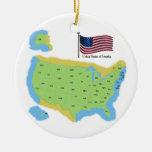 Bandera y mapa de los E.E.U.U. Ornato