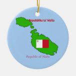 Bandera y mapa de Malta Ornamento Para Arbol De Navidad